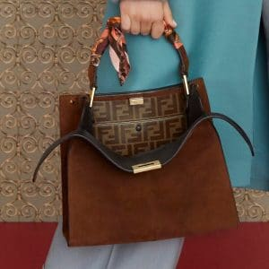 Fendi Brown Suede Peekaboo Mini Bag - Pre-Fall 2019