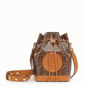 Fendi Brown/Beige Glazed Fabric Small Mon Tresor Bucket Bag