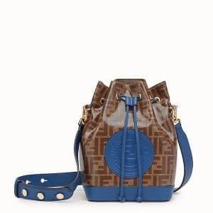 Fendi Brown/Blue Glazed Fabric Small Mon Tresor Bucket Bag