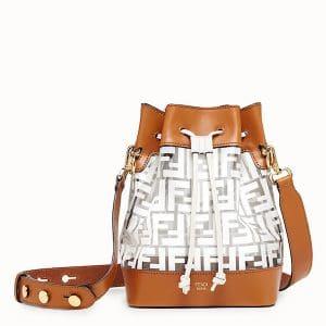 Fendi Brown/White PU Logo Small Mon Tresor Bucket Bag