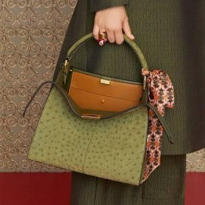 Fendi Green Ostrich Peekaboo Bag - Pre-Fall 2019