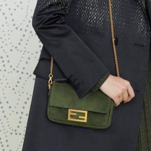 Fendi Green Suede Baguette Bag - Pre-Fall 2019