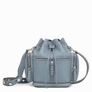 Fendi Light Blue Roman Leather Small Mon Tresor Bucket Bag