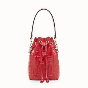Fendi Red Embossed FF Mon Tresor Mini Bucket Bag