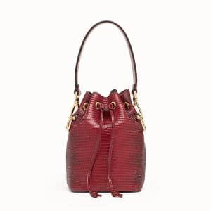 Fendi Red Lizard Skin Mon Tresor Mini Bucket Bag