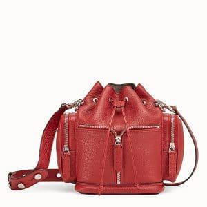 Fendi Red Roman Leather Small Mon Tresor Bucket Bag