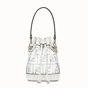Fendi White PU Logo Mon Tresor Mini Bucket Bag