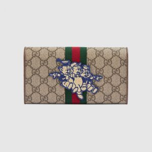 Gucci GG Supreme Three Little Pigs Continental Wallet