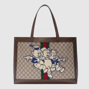 Gucci GG Supreme Three Little Pigs Ophidia GG Tote Bag