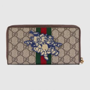 Gucci GG Supreme Three Little Pigs Zip Around Wallet