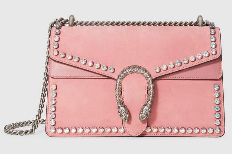 Gucci Light Pink Peony Suede Crystal Dionysus Small Shoulder Bag