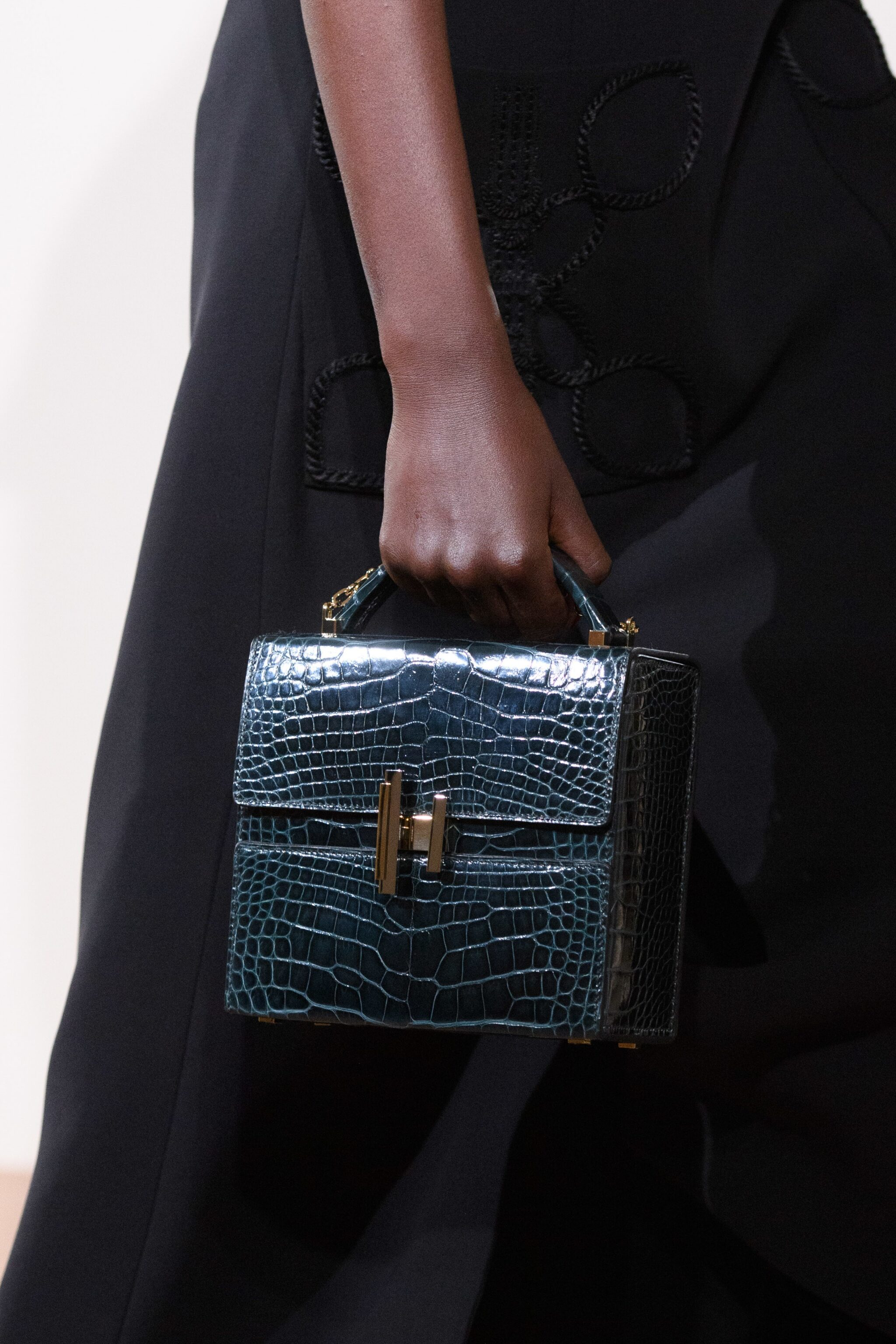 228cb35eb2e9 Hermes Black Crocodile Cinhetic Boxy Top Handle Bag - Pre-Fall 2019