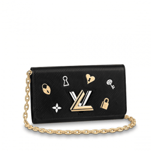 Louis Vuitton Black Love Lock Twist Chain Wallet Bag