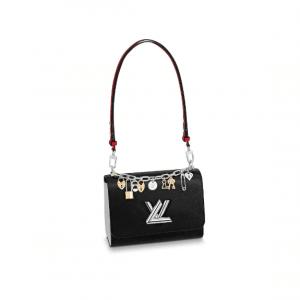 Louis Vuitton Black Twist MM Love Lock Charms Bag