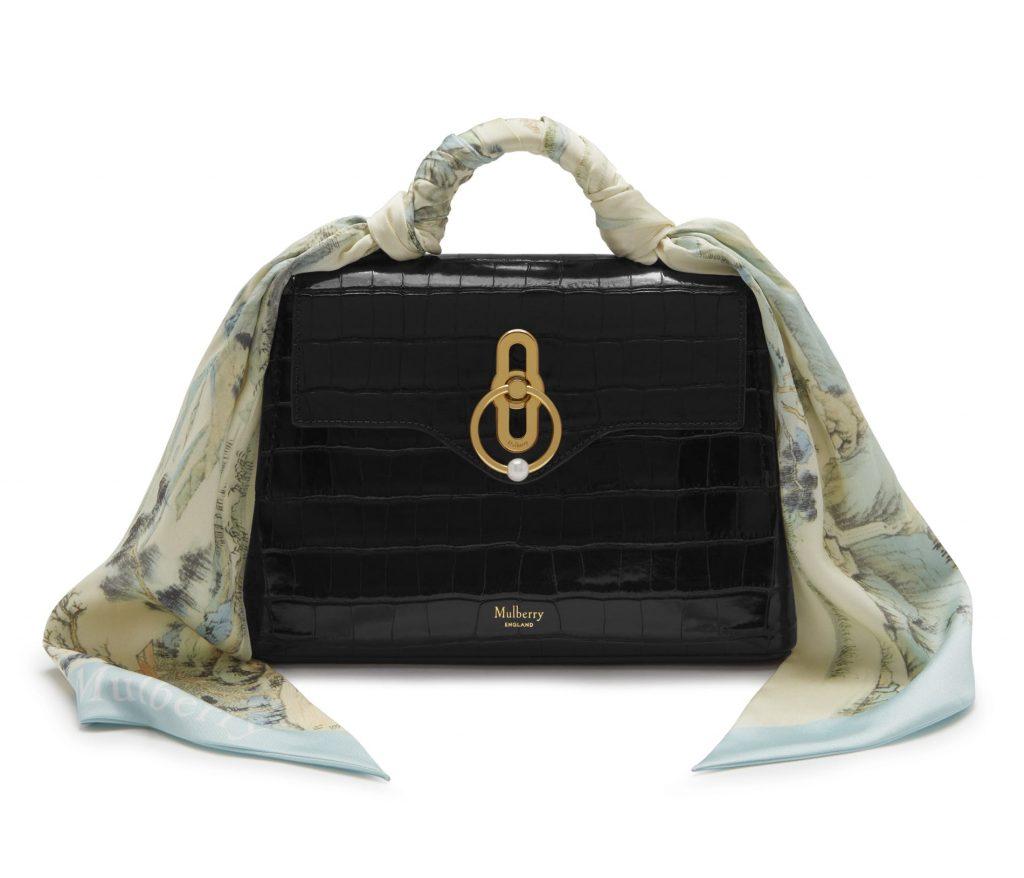 551f3d8789a Mulberry Black Croc Print Mini Seaton Bag