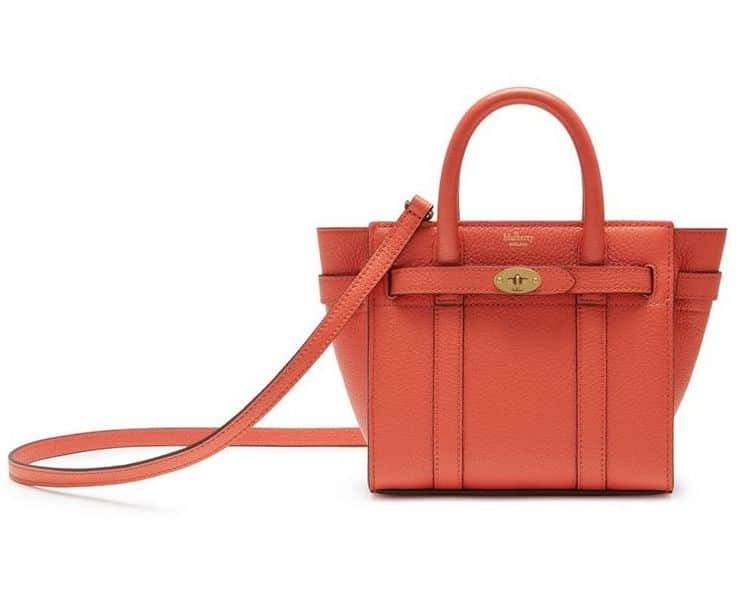 Mulberry Coral Rose Small Classic Grain Micro Zipped Bayswater Bag