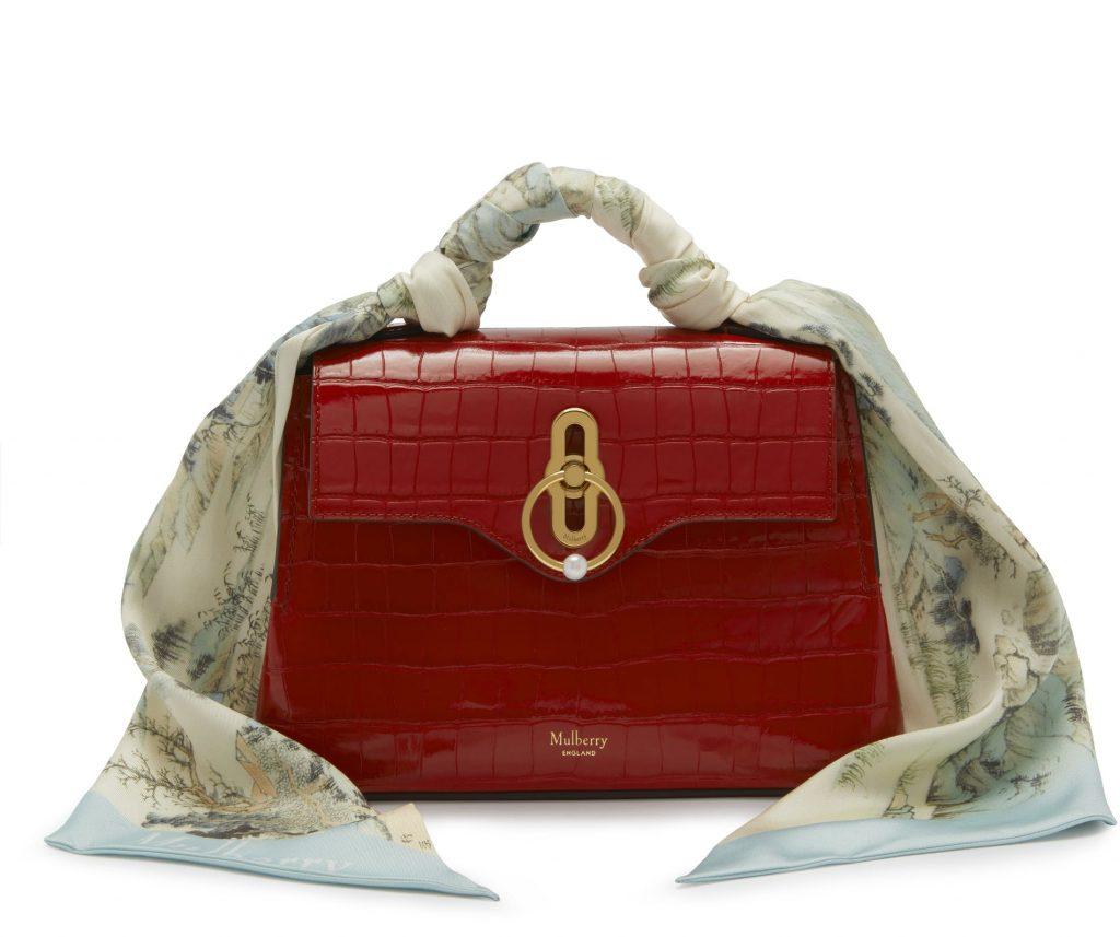 Mulberry Scarlet Croc Print Mini Seaton Bag
