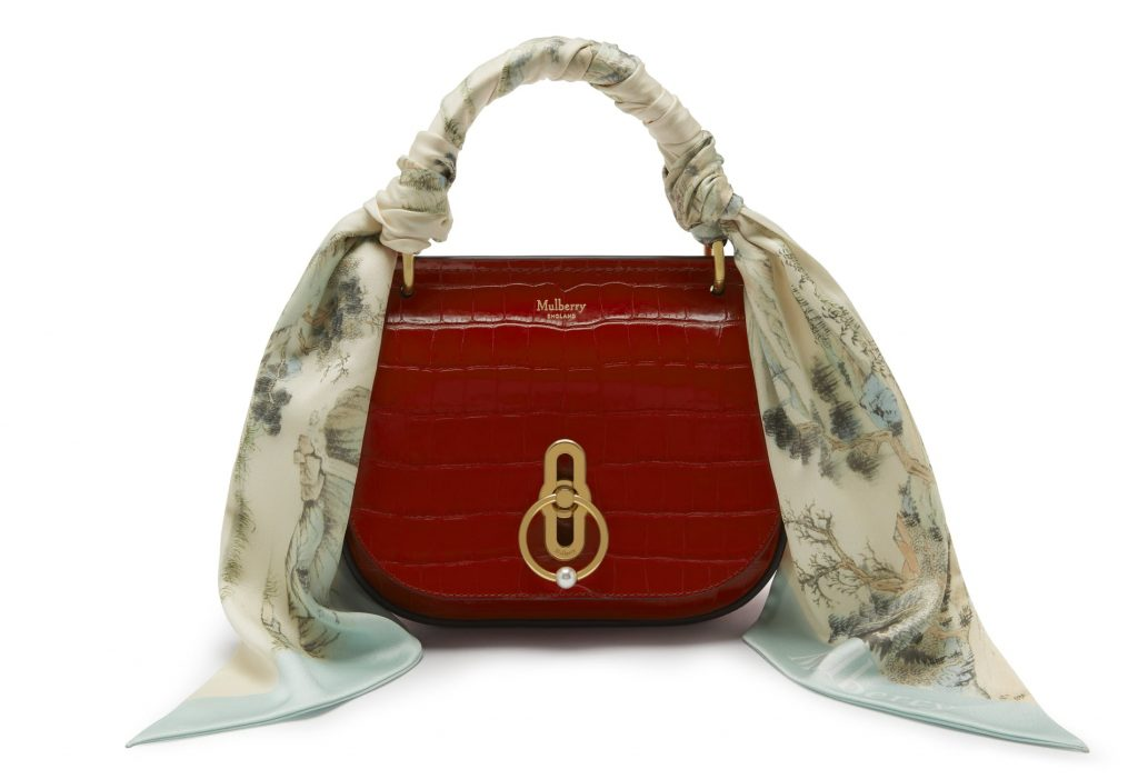 Mulberry Scarlet Croc Print Small Amberly Satchel Bag