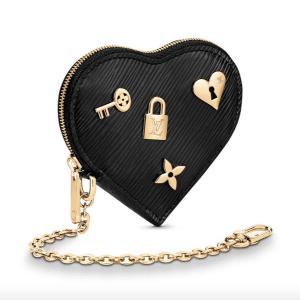 Louis Vuitton Black Epi Love Lock Porte-Monnaie Cœur