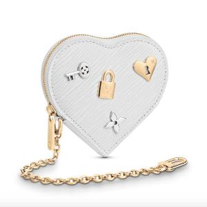 Louis Vuitton Blanc Epi Love Lock Porte-Monnaie Cœur