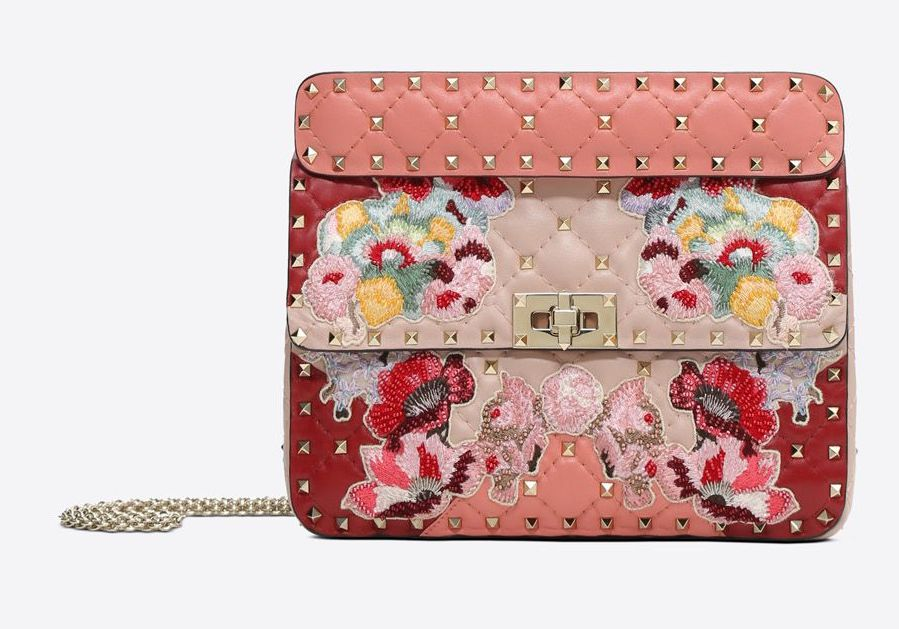 Valentino Pink Embroidered Medium Spike Bag
