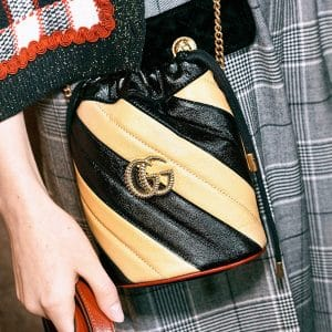 Gucci Black/Beige GG Marmont Drawstring Bag