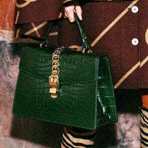 Gucci Green Crocodile Sylvie Top Handle Bag