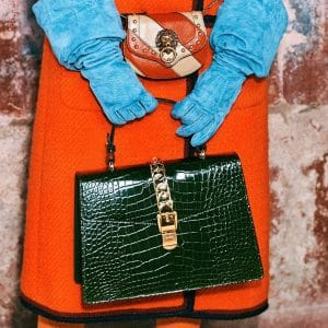 Gucci Green Crocodile Sylvie Top Handle Bag 2