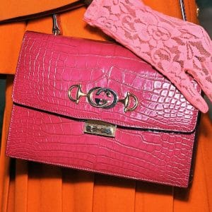 Gucci Pink Crocodile Shoulder Bag