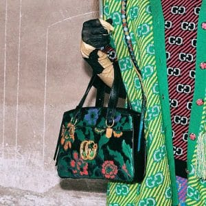 Gucci Black Floral Print Arli Top Handle Bag