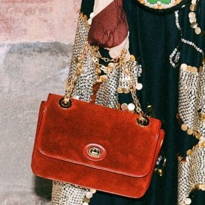 Gucci Red Suede Flap Bag 2