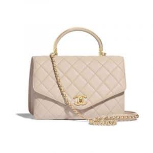 Chanel Beige Calfskin Top Handle Bag