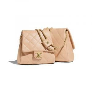 Chanel Beige Lambskin Medium Side Pack Bag