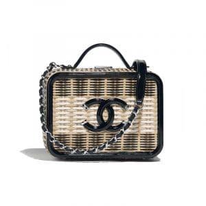 Chanel Beige/Black/White Rattan/Patent CC Filigree Vanity Case Bag