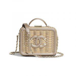 Chanel Beige/Gold Rattan:Metallic Calfskin CC Filigree Small Vanity Case Bag