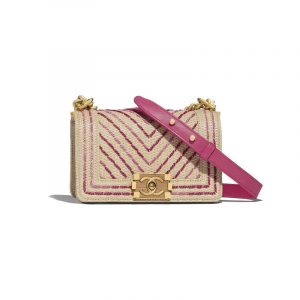 Chanel Beige/Pink Cotton/Mixed Fibers Boy Chanel Small Flap Bag