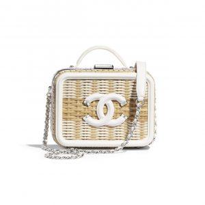 Chanel Beige/White Rattan CC Filigree Small Vanity Case Bag