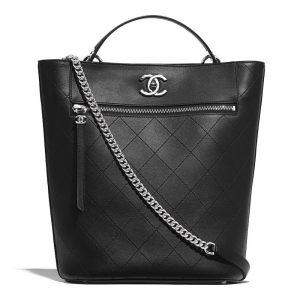 Chanel Black Calfskin Large Bucket Bag