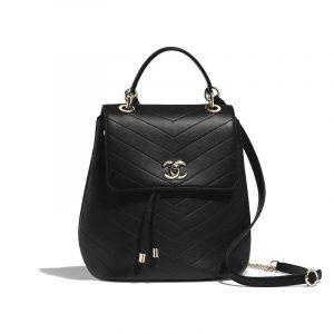Chanel Black Grained Calfskin Chevron Backpack Bag