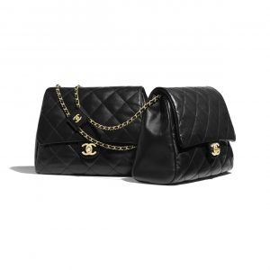 Chanel Black Lambskin Large Side Pack Bag