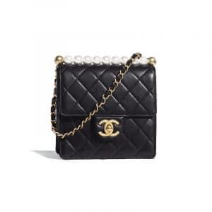 Chanel Black Lambskin with Imitation Pealrs Mini Flap Bag