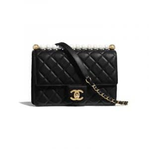 Chanel Black Lambskin with Imitation Pearls Medium Flap Bag