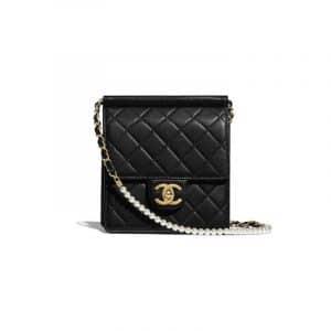 Chanel Black Lambskin with Imitation Pearls Mini Flap Bag