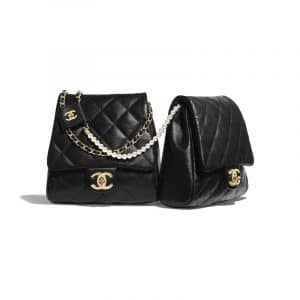 Chanel Black Lambskin with Imitation Pearls Side Pack Bag