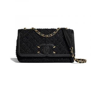 Chanel Black Tweed CC Filigree Flap Bag
