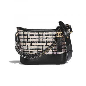 Chanel Black/Light Beige Calfskin/Viscose Weaving Gabrielle Small Hobo Bag