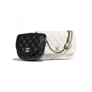 Chanel Black/White Lambskin Two-Tone Side Pack Bag