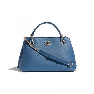 Chanel Blue Grained Calfskin Chevron Small Zipped Shopping Bag