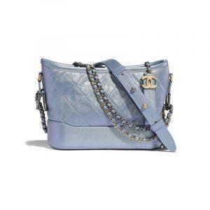 Chanel Blue Iridescent Calfskin Gabrielle Small Hobo Bag