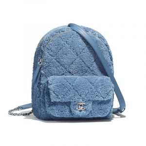 Chanel Blue Mixed Fibers Backpack Bag